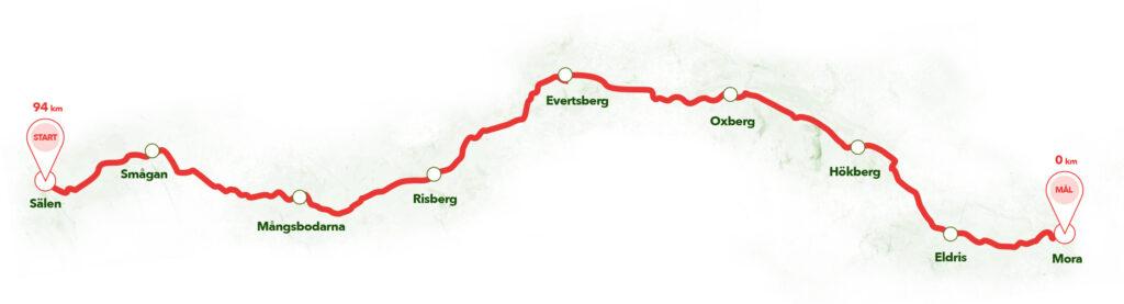 Karta över Cykelvasan
